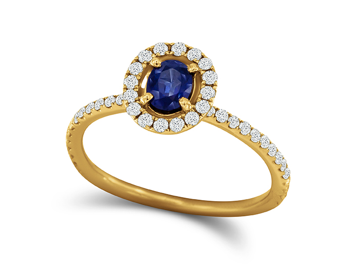 Sapphire and round brilliant cut diamond ring in 18k yellow gold.
