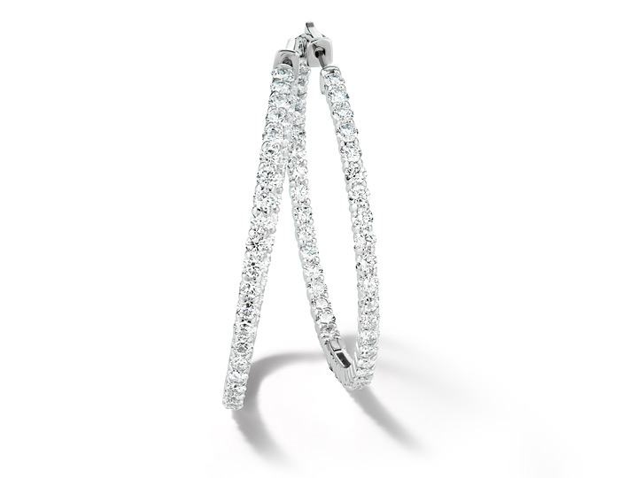 "Round brilliant cut diamond 1.0"" diameter hoop earrings in 18k white gold."