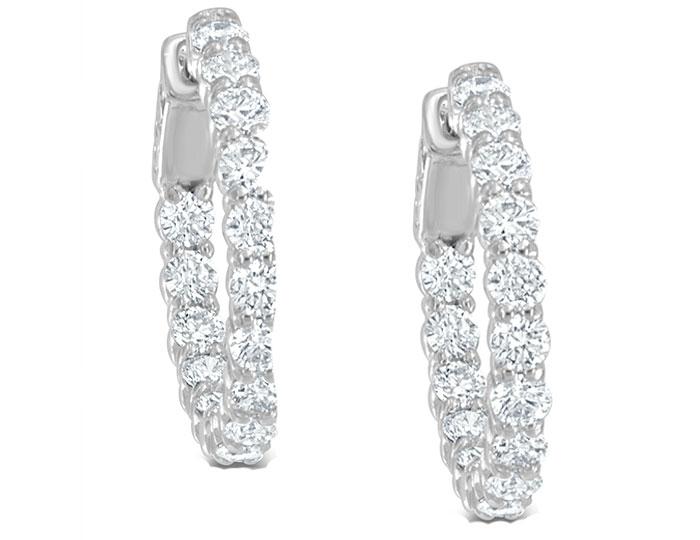 "Round brilliant cut diamond 0.75"" diameter hoop earrings in 18k white gold."