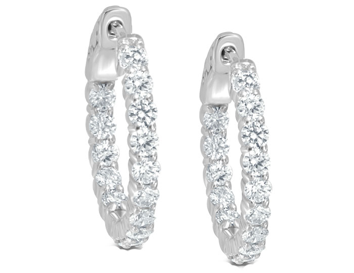 "Round brilliant cut diamond 0.65"" diameter hoop earrings in 18k white gold."