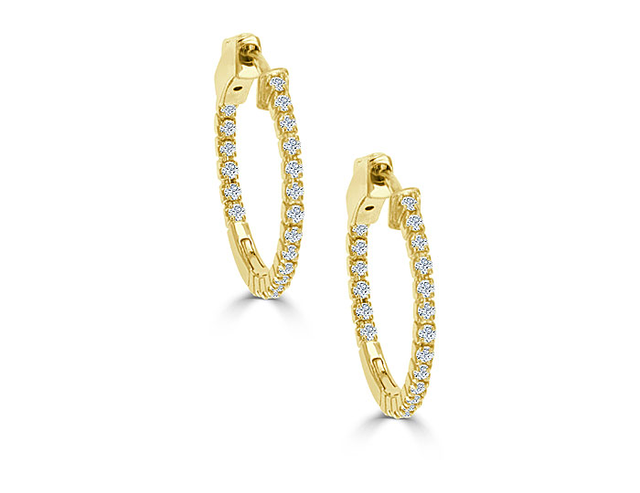 Round brilliant cut diamond hoop earrings in 18k yellow gold.
