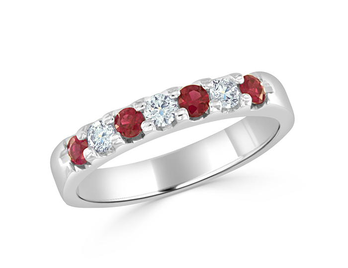 Ruby and round brilliant cut diamond band in 18k white gold.