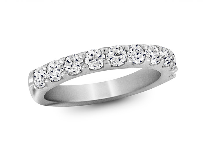 Round brilliant cut diamond band in platinum.                                                                         In stock from $1,150 to $7,900.