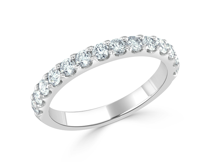 Round brilliant cut diamond band in 18k white gold.