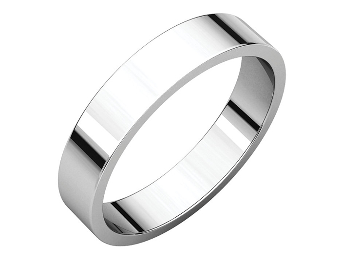 Men's 4mm wedding band in 14k white gold.