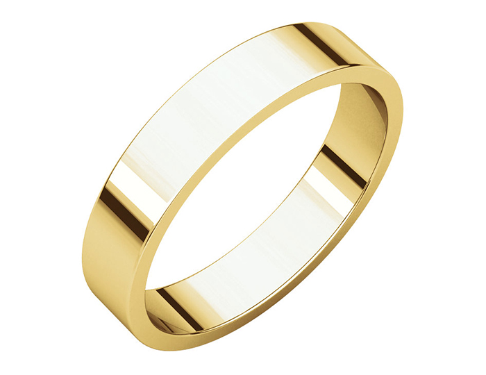 Men's 4mm wide wedding band in 14k yellow gold.