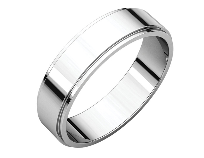 Men's 5mm wedding band in 14k white gold.