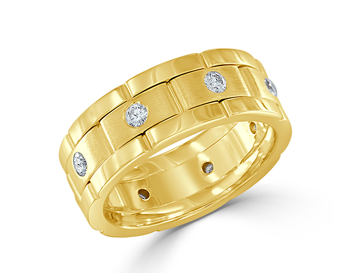 Men's round brilliant cut diamond wedding band in 18k yellow gold.