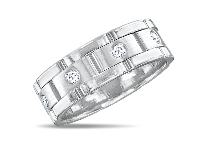 Men's round brilliant cut diamond wedding band in 18k white gold.