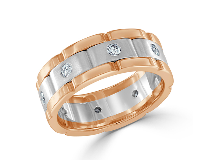 Men's round brilliant cut diamond wedding band in 18k rose and white gold.