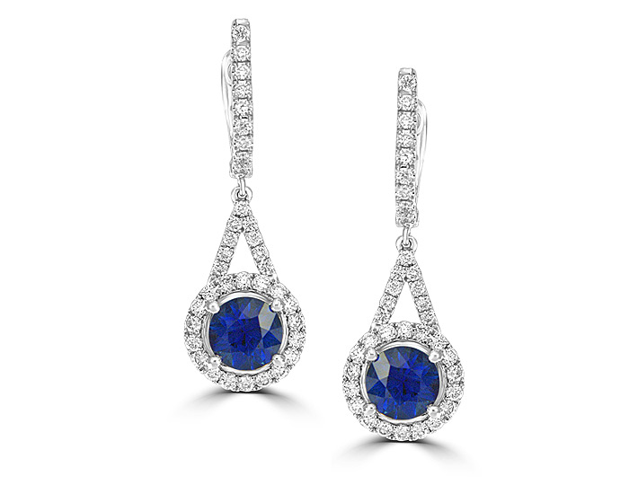 Sapphire and round brilliant cut diamond earrings in 18k white gold.