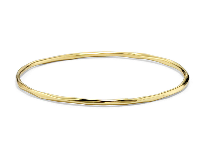 IPPOLITA 18K Gold Sculptural Metal Thin Bangle.