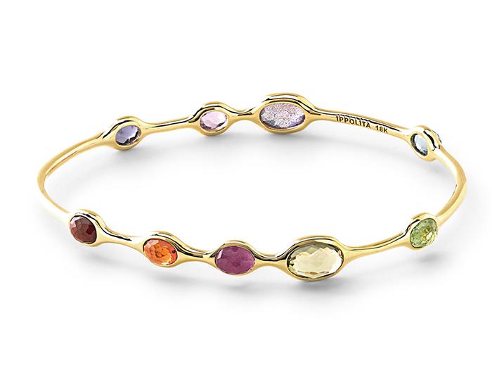 IPPOLITA 18K Gold Rock Candy 9-Stone Bangle in Fall Rainbow.