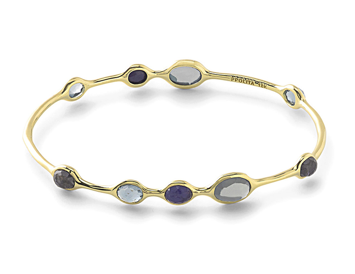 IPPOLITA Rock Candy 18K Gold 9-Stone Bangle.