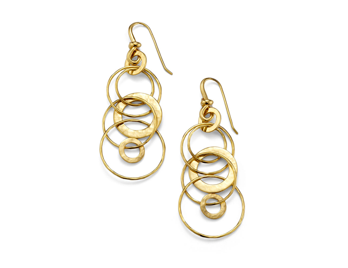 IPPOLITA 18K Gold Hammered Jet Set Earrings.