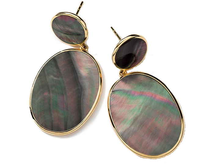 Ippolita Wonderland collection black shell earrings in 18k yellow gold.