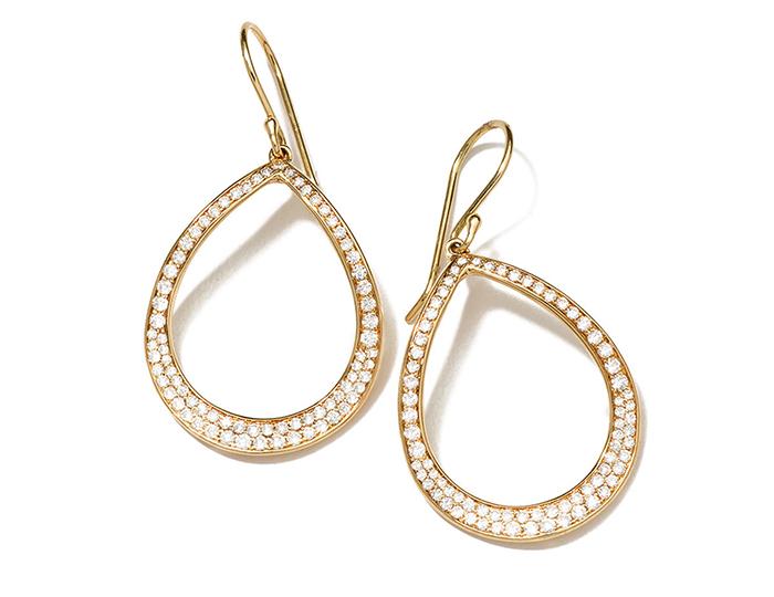 iPPOLITA 18K Glamazon Stardust Pavé Open Pear Earrings with Diamonds.