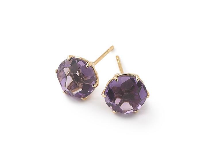 IPPOLITA 18K Gold Rock Candy Medium Round Stud Earrings in Dark Amethyst.