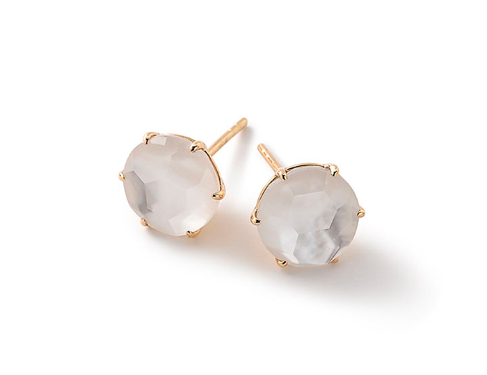 IPPOLITA 18K Gold Rock Candy Medium Round Stud Earrings in Mother-of-Pearl Doublet.