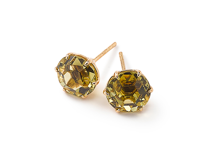 IPPOLITA 18K Gold Rock Candy Medium Round Stud Earrings in Green-Gold Citrine.