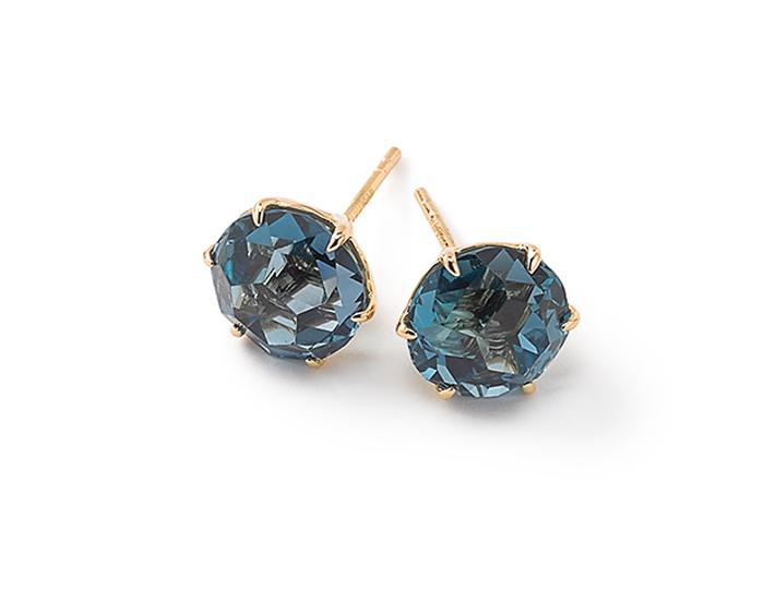 IPPOLITA 18K Gold Rock Candy Medium Round Stud Earrings in London Blue Topaz.