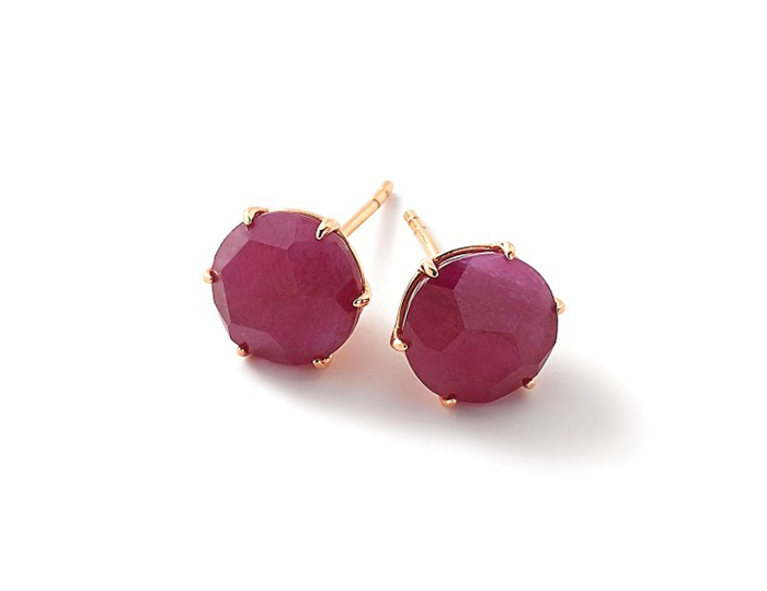 IPPOLITA 18K Gold Rock Candy Medium Round Stud Earrings in Composite Ruby.