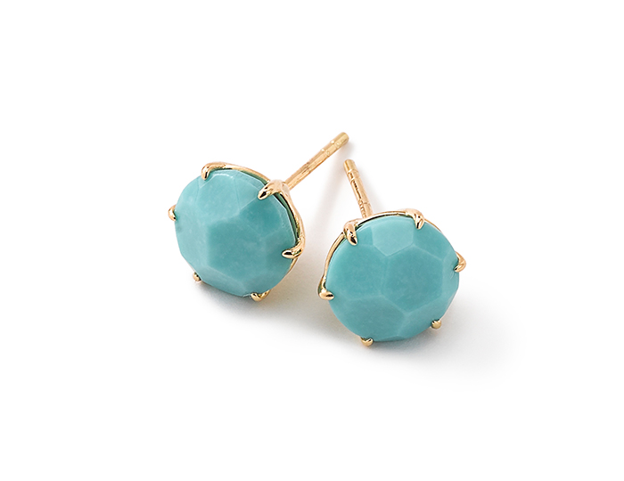 IPPOLITA 18K Gold Rock Candy Medium Round Stud Earrings in Turquoise.