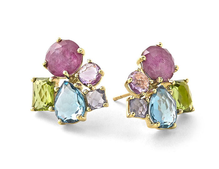 IPPOLITA 18K Gold Rock Candy Cluster Earrings Stud in Fall Rainbow.