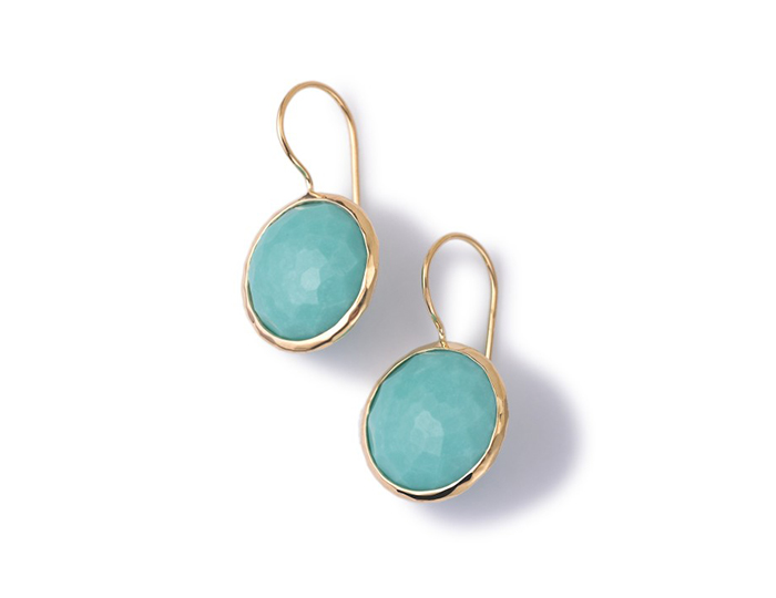 IPPOLITA 18K Gold Lollipop Medium Round Earrings in Turquoise.