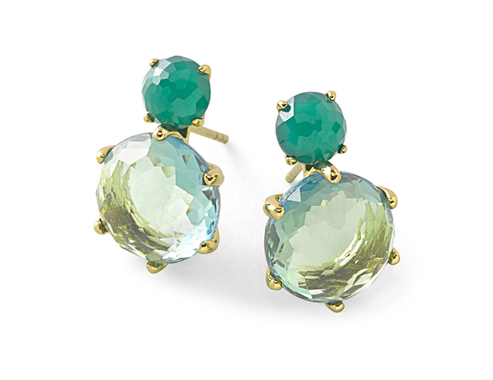 IPPOLITA 18K Rock Candy 2-Stone Post Earrings in Dyed Green Agate & Green Gold Citrine London Blue Doublet.