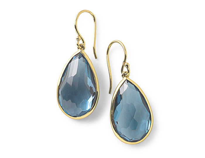 IPPOLITA 18K Rock Candy Single Medium Teardrop Earrings in London Blue Topaz.