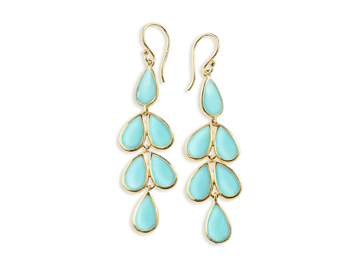 IPPOLITA 18K Gold Polished Rock Candy Teardrop Linear Cascade Earrings in Turquoise.