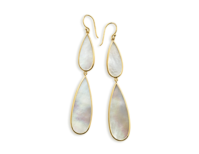 IPPOLITA 18K Gold Polished Rock Candy Long Double Teardrop Earrings in Mother-of-Pearl.