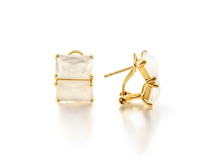 IPPOLITA 18K Rock Candy 2-Stone Earring in Mother-of-Pearl Doublet.