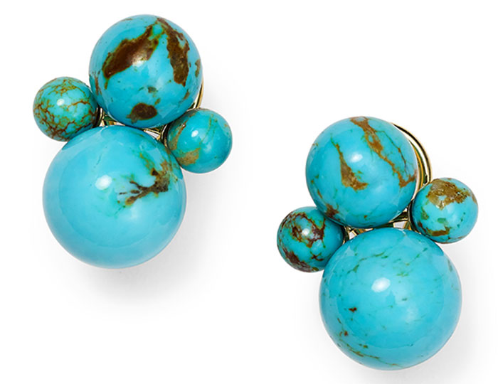 Ippolita Nova collection turquoise earrings in 18k yellow gold.
