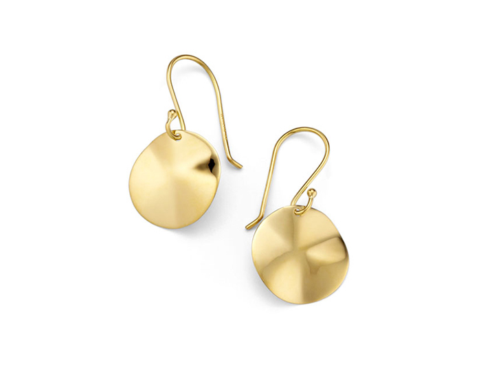 IPPOLITA 18K Gold Mini Wavy Disc Earrings.
