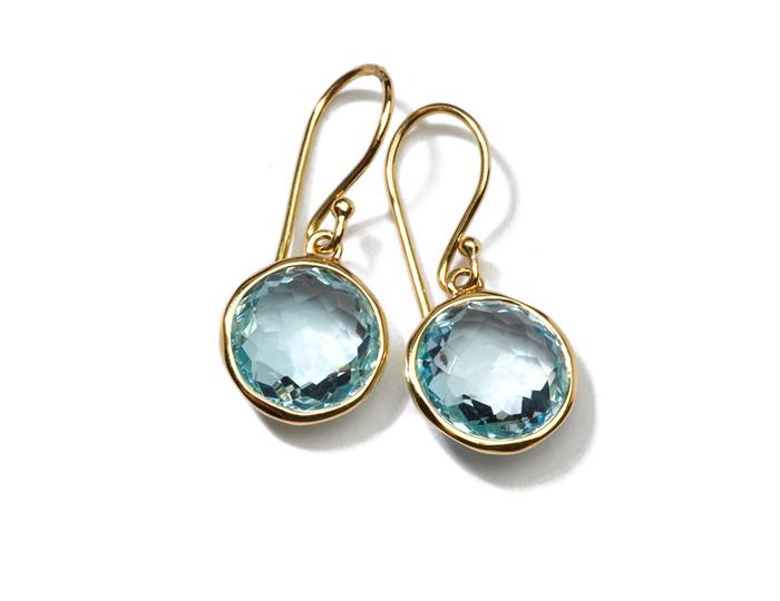 IPPOLITA 18K Gold Rock Candy Mini Lollipop Earrings in Blue Topaz.