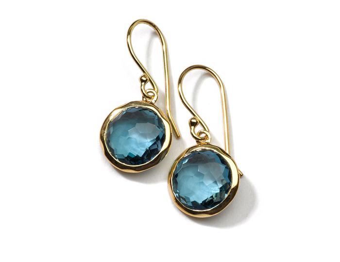 IPPOLITA 18K Gold Rock Candy Mini Lollipop Earrings in London Blue Topaz.