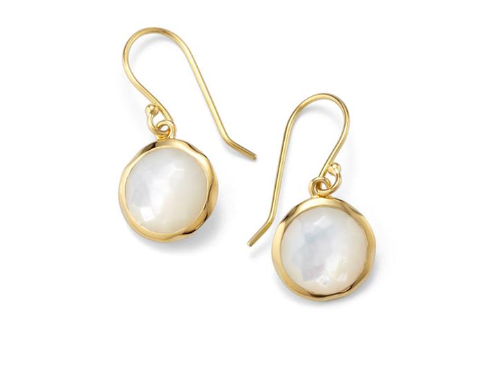IPPOLITA 18K Gold Rock Candy Mini Lollipop Earrings in Mother-of-Pearl.