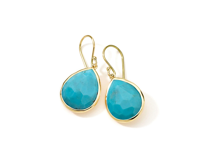 IPPOLITA 18K Gold Rock Candy Teardrop Earrings in Turquoise.