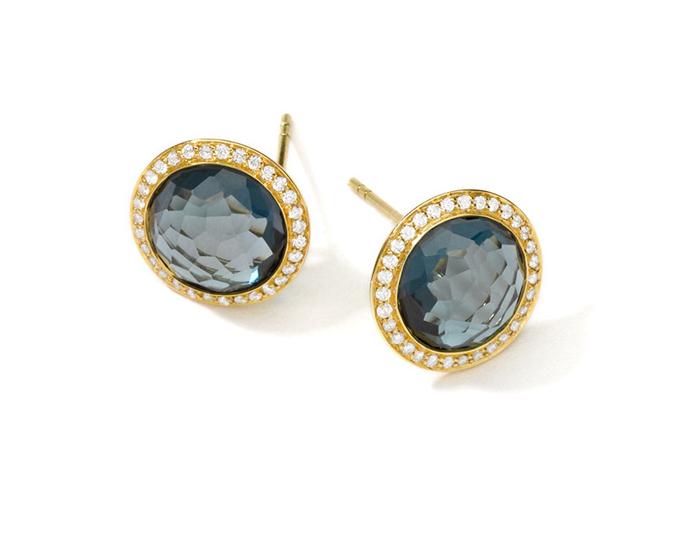 IPPOLITA 18K Gold Lollipop Stud Earrings London Blue Topaz with Diamonds.