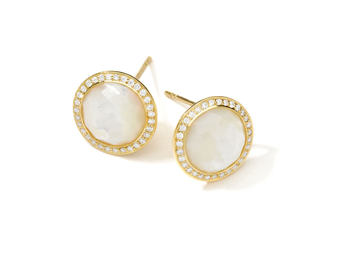 IPPOLITA 18K Gold Lollipop Stud Earrings Mother-of-Pearl with Diamonds.
