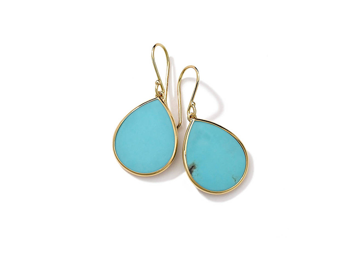 IPPOLITA 18K Gold Rock Candy Mini Teardrop Earrings in Turquoise.