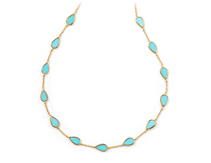 "IPPOLITA 18K Polished Rock Candy Small Pear Shaped Stone Station Necklace in Turquoise 16-18""."