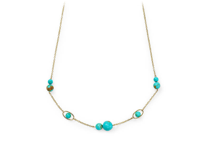 Ippolita Nova Collection turquoise necklace in 18k yellow gold.