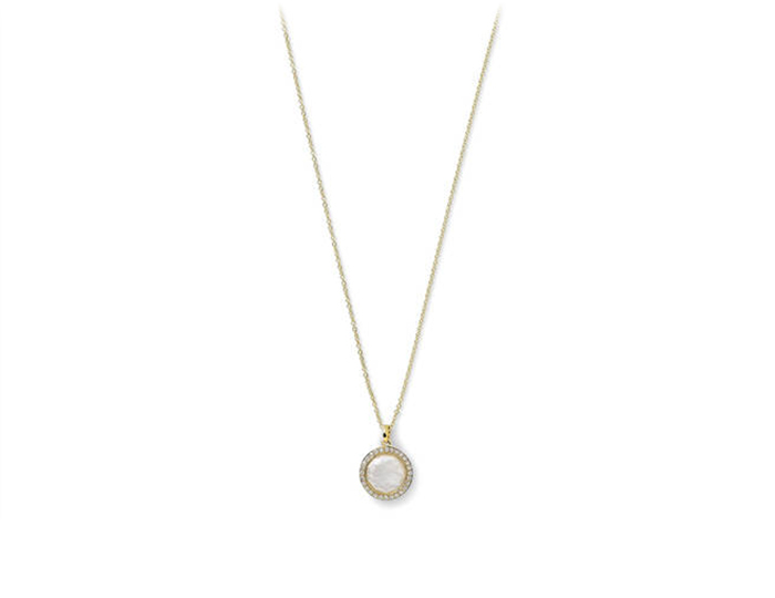Ippolita Lollipop Collection mother of pearl and diamond pendant in 18k yellow gold.