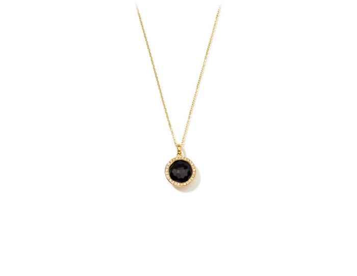 "IPPOLITA 18K Gold Rock Candy Mini Lollipop Pendant Necklace in Onyx with Diamonds 16-18""."