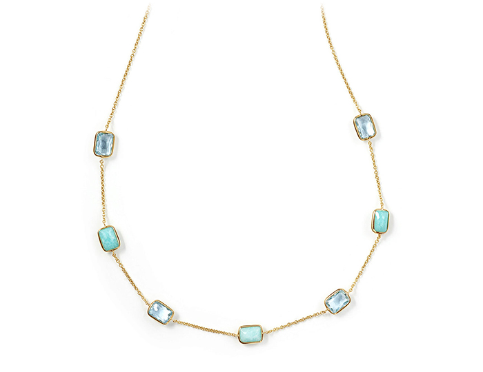 "IPPOLITA 18K Gold Rock Candy Mini Gelato Rectangular Station Necklace in Waterfall 16-18""."