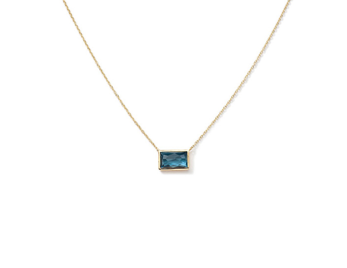 "IPPOLITA 18K Gold Gelato Small Baguette Station Necklace in London Blue Topaz 16-18""."
