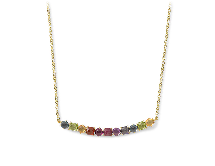 "IPPOLITA 18K Rock Candy 11-Stone Curved Bar Necklace in Fall Rainbow 16-18""."